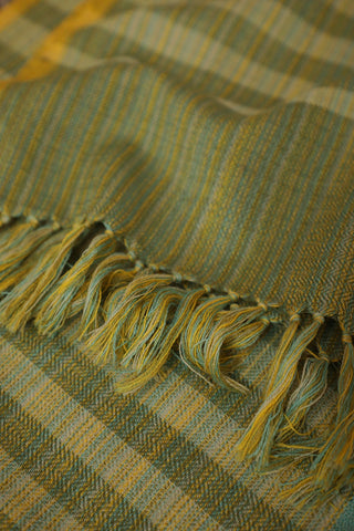 Lines in Subdued Green Woolen Scarf