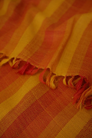 Orange and Yellow Lines Woolen Stole