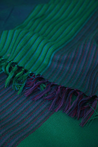 Lines in Blue and Green Woolen Stole