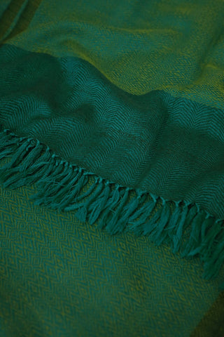 Yellowish Green with Blue Border Woolen Stole