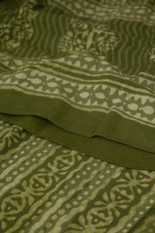 Subdued Green Block Printed Mul Cotton Stole