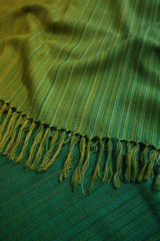Yellow and Green Shades Handwoven Woolen Shawl