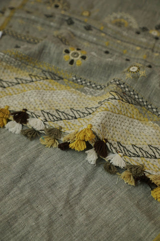 Grey with Yellow Lambani Embroidered Cotton Stole