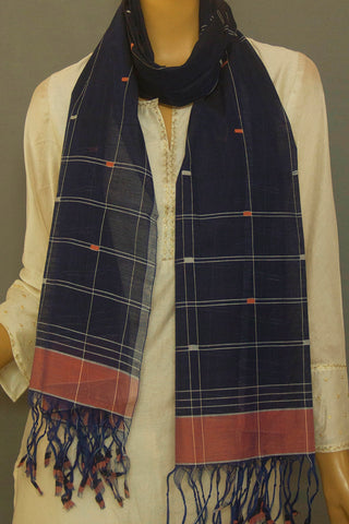 Blue with Peach Handwoven Cotton Stole