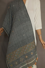 Grey Lambani Embroidered Cotton Stole