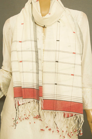 Off White Jamdani Handwoven Cotton Stole