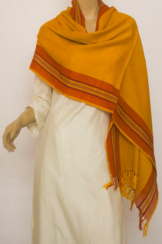 Fenugreek Yellow with Maroon Woolen Stole