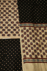 Beige with Maroon Small Floral Block Printed Ajrak Full Suit