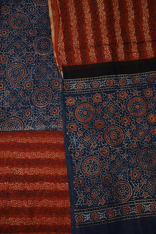 Maroon with Black Circles in Indigo Ajrak Full Suit