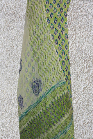 Light Green with Blue Sanganeri Cotton With Chiffon Dupatta