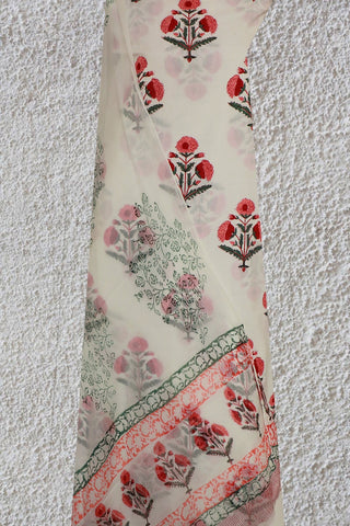 White with Peach and Maroon Big Floral Sanganeri Cotton With Chiffon Dupatta