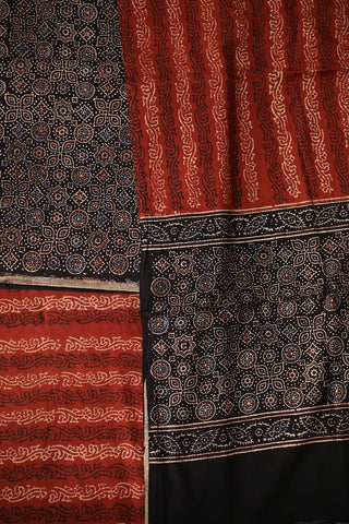 Circles and Stars in Black Ajrak Full Suit