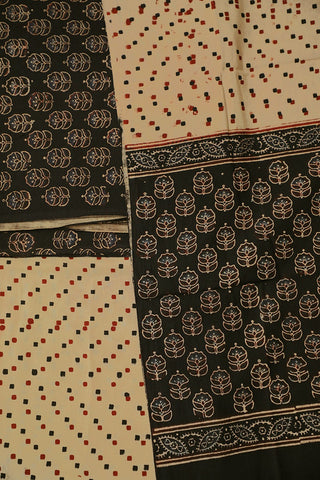 Black with Beige Block Printed Ajrak Full Suit