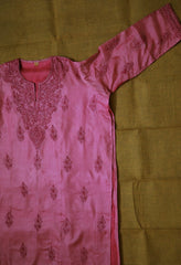 Light Pink Semi Stitched Tussar Silk Kurta