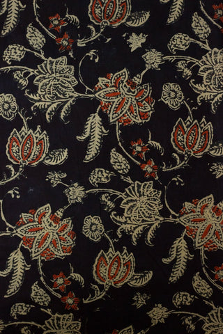 Black with Rust Red Lotus Bagru Block Printed Cotton Fabric