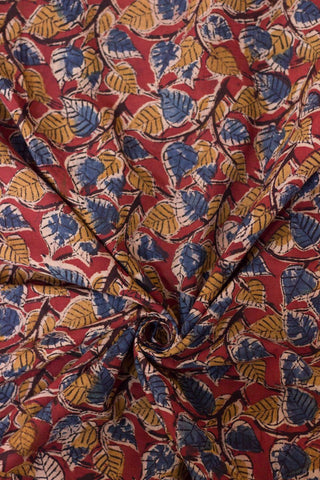 Maroon with Blue and Yellow Peepal Printed Kalamkari Fabric