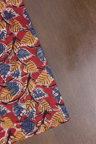 Maroon with Blue and Yellow Peepal Printed Kalamkari Fabric - 2m
