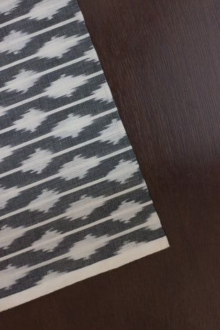 Grey with White mercerized cotton Ikat Fabric