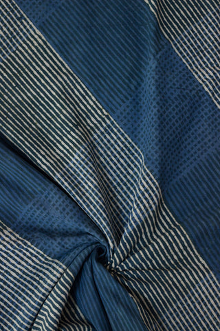 Indigo with White Lines Bagru Block Printed Cotton Fabric