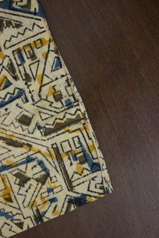 Geometric Shapes Block Printed Kalamkari Fabric