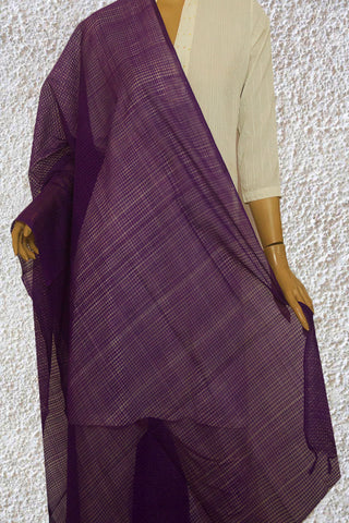 Purple Missing checks Handwoven Cotton Dupatta