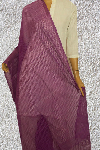 Lavender Missing Checks Handwoven Cotton Dupatta