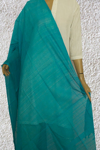 Blue Missing Checks Handwoven Cotton Dupatta