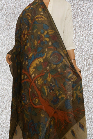 Olive Green with Orange Tree Painted Kalamkari Silk Cotton Dupatta
