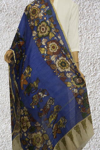 Blue Painted Kalamkari Silk Cotton Dupatta