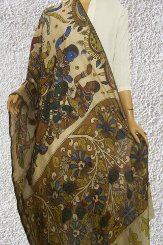 Off White Painted Kalamkari Silk Cotton Dupatta