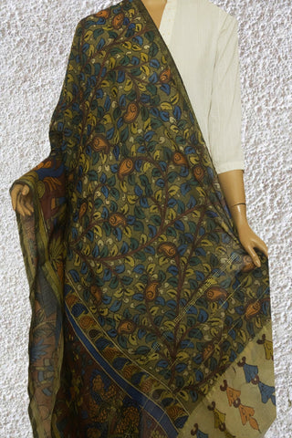 Subdued Green with Light Orange Paisley Painted Kalamkari Dupatta