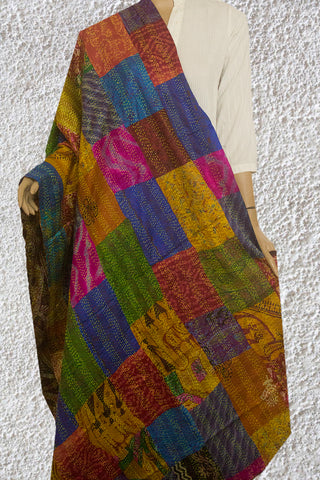 Multi-Colour Patchwork Reversible Silk Kantha Stitch Dupatta