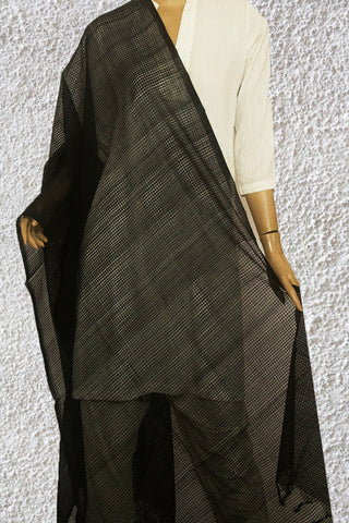 Black Missing checks Handwoven Cotton Dupatta