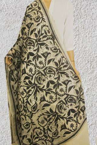 Black Floral Hand Embroidered Kantha Work Net Dupatta