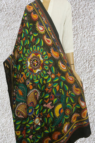 Elaborate Black Hand Embroidered Kantha Work Silk Dupatta