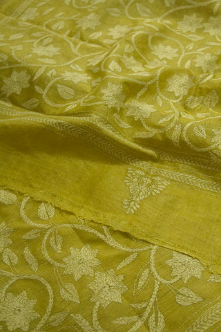 Yellow Flower Hand Embroidered Kantha Work Silk Dupatta