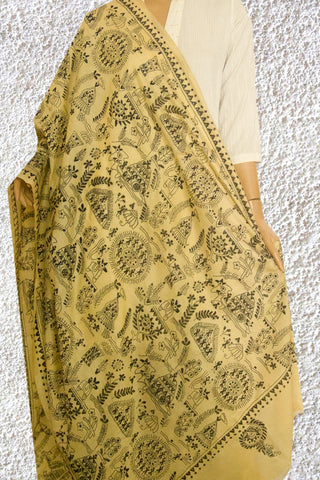Subdued Beige with Black  Kantha Work Silk Dupatta
