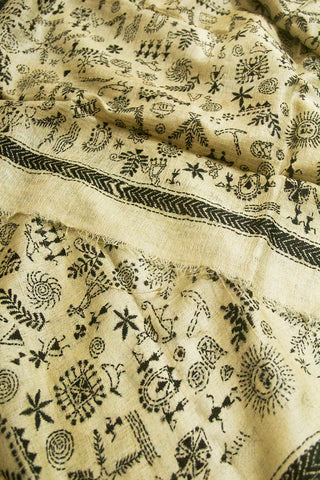 Offwhite with Black Warli Design Kantha Work Silk Dupatta