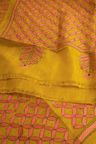 Yellow with Pink Hand Embroidered Kantha Work Silk Dupatta