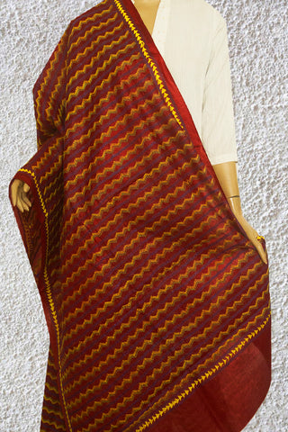 Maroon Hand Embroidered Kantha Work Silk Dupatta
