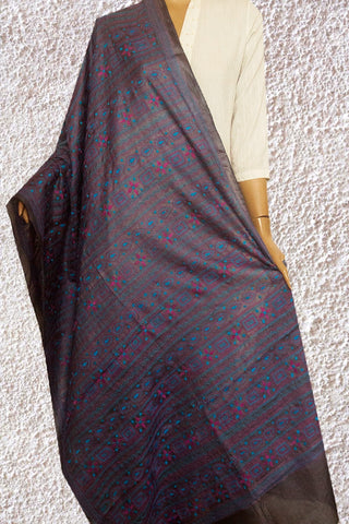 Grey with Blue Hand Embroidered Kantha Work Silk Dupatta