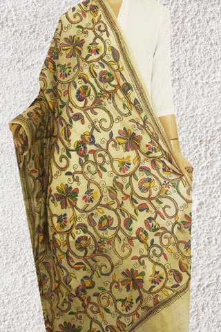 Beige Multi Colour Hand Embroidered Kantha Work Net Dupatta