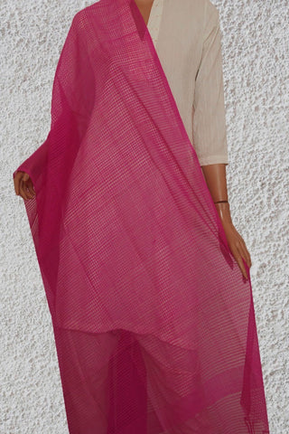 Meganta Pink Missing checks Handwoven Cotton Dupatta