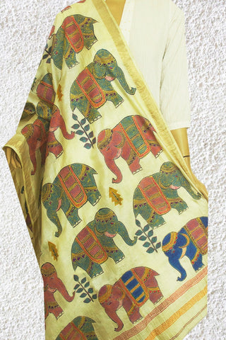 Elephants - Hand Painted Embroidered Kantha Work Silk Dupatta