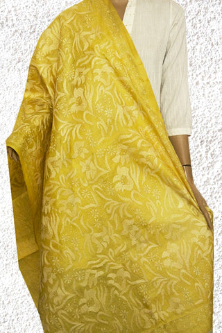 Yellow Floral Hand Embroidered Kantha Work Silk Dupatta