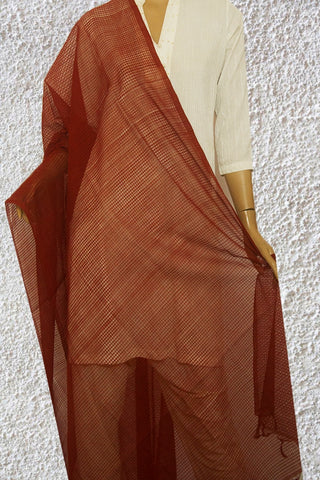 Brown Missing Checks Handwoven Cotton Dupatta