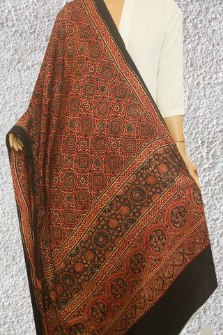 Maroon with Black Ajrak Block Printed Modal Silk Dupatta