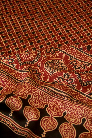 Maroon Fish Scales  Block Printed Modal Silk Dupatta