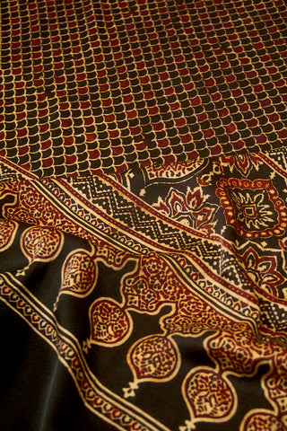 Black Fish Scales Ajrak Block Printed Modal Silk Dupatta