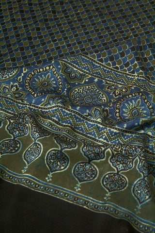 Indigo Fish Scales  Block Printed Modal Silk Dupatta